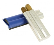 Etui 2 cigares Acier Poli Cuir Bleu