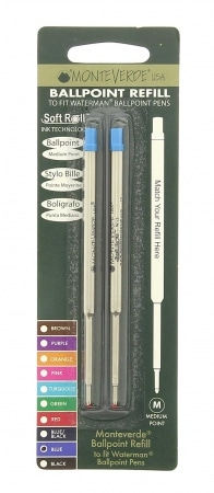 Recharge bille type Waterman bleue x 2