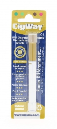Mini E-Cigarette Jetable Cigway Tabac Blond sans Nicotine