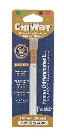 E-cigarette Jetable Cigway Tabac Blond avec Nicotine