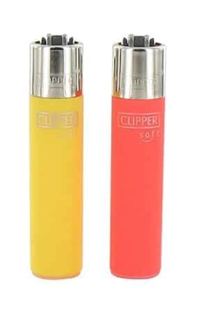 2 briquets à pierre Clipper Color Soft Orange et Jaune