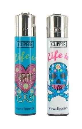 2 briquets � pierre Clipper Life is Very Pop Bleu et Blanc