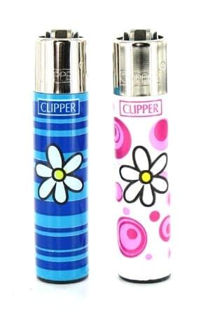 2 briquets à pierre Clipper Fleur Rose et Bleu