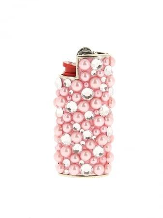 Etui briquet mini Bic Strass et Perle Rose