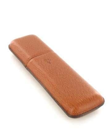 Etui 2 cigares Récife cuir perlé marron 2047911
