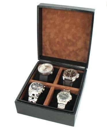 Boite 4 montres Gainée Lézard Noir