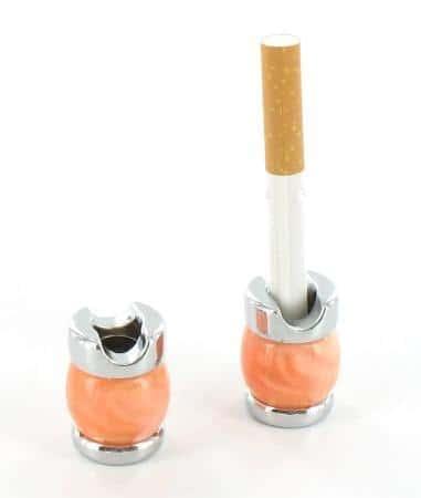 Etouffoir à cigarettes chromé marron orangé marbré