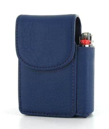 Etui Paquet de Cigarettes et Briquet Bleu