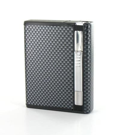 Etui 8 cigarettes Automatique et Briquet Carbone