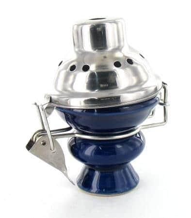 Foyer pour narguilé grand modèle bleu avec couvercle
