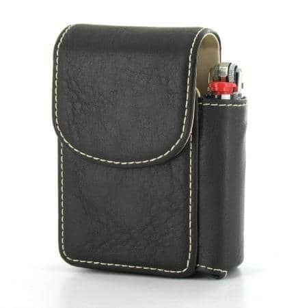 Etui Paquet de Cigarettes et Briquet Marron