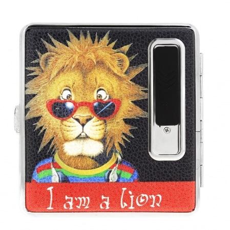 Etui cigarette et briquet le lion