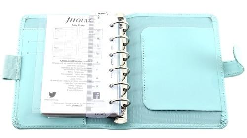 Agenda Filofax Pocket Patent Bleu