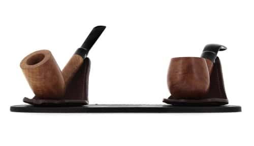 Porte pipe Art et Volutes en cuir Duo