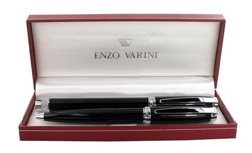 Parure stylo Enzo Varini Castello Chromé Noir