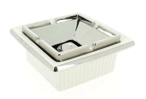 Cendrier C�ramique Laqu� Blanc et Chrom�