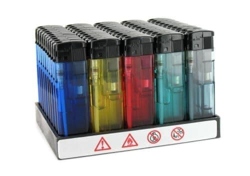 50 briquets �lectroniques Translucides