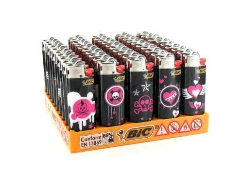 50 briquets Bic mini à pierre Pink Death 2011