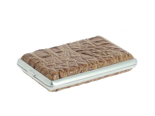 Etui 12 Cigarettes Croco Marron Clair