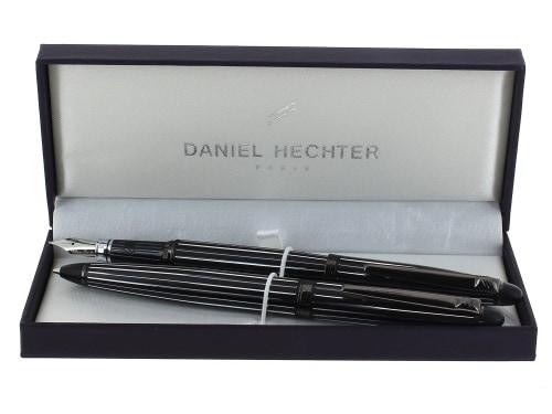 Parure stylo Daniel Hechter Paris Laqué noir Ligné fin
