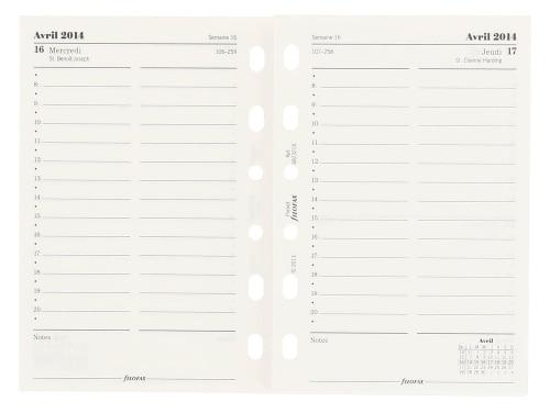 Recharge Filofax Pocket 1 jour par page 2014