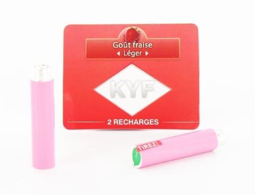 2 Recharges roses Goût Fraise nicotine léger Cigarette KYF