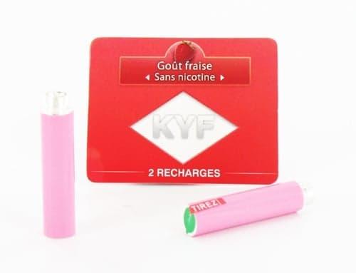 2 Recharges roses Go�t Fraise sans nicotine Cigarette KYF