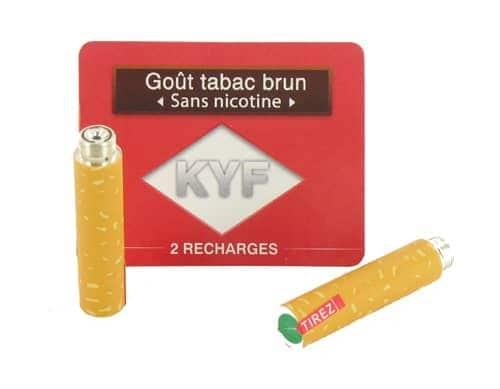 2 Recharges Goût Tabac Brun sans nicotine Cigarette KYF