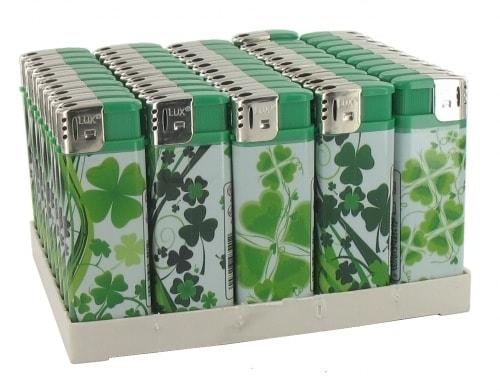50 Briquets Electroniques Plats Trefle