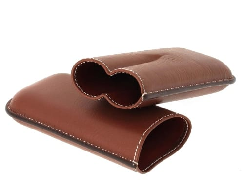 Etui cigare Récife 2 cigares Chesterfield Cognac