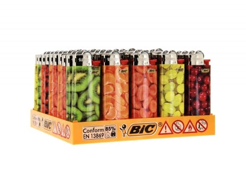50 briquets Bic mini à pierre Fruits