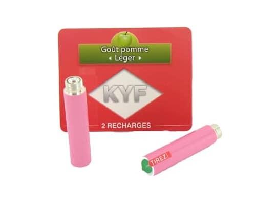 2 Recharges roses Goût Pomme nicotine léger Cigarette KYF