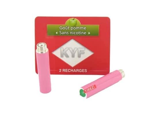 2 Recharges roses Goût Pomme sans nicotine Cigarette KYF