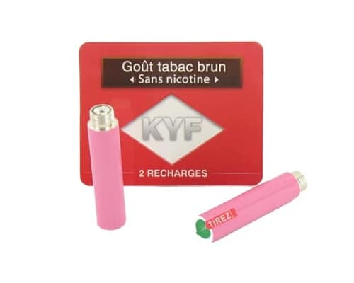 2 Recharges roses Goût Tabac Brun sans nicotine Cigarette KYF