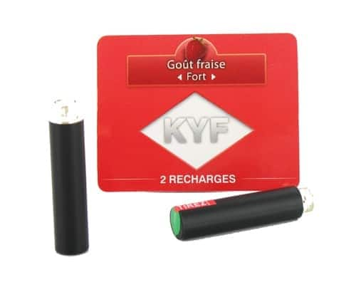 2 Recharges noires Goût Fraise nicotine fort Cigarette KYF