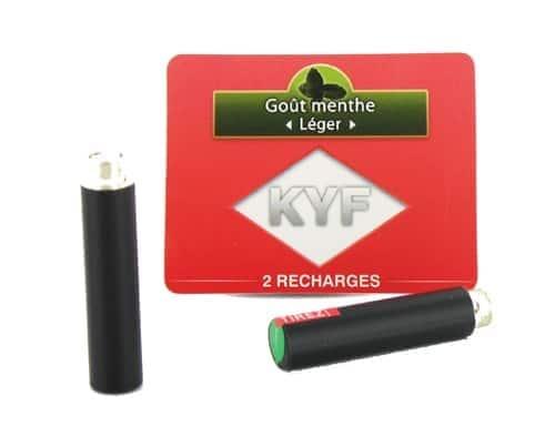 2 Recharges noires Goût Menthe nicotine léger Cigarette KYF
