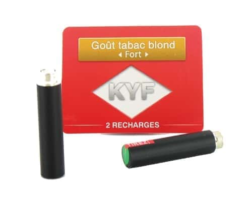 2 Recharges noires Goût Tabac Blond nicotine fort Cigarette KYF