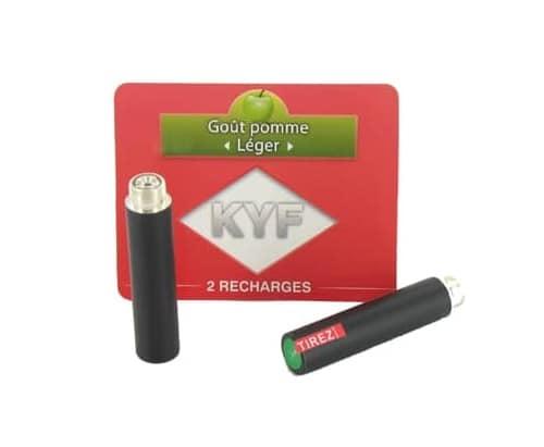 2 Recharges noires Goût Pomme nicotine léger Cigarette KYF