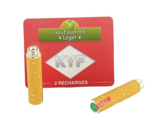 2 Recharges Goût Pomme nicotine léger Cigarette KYF