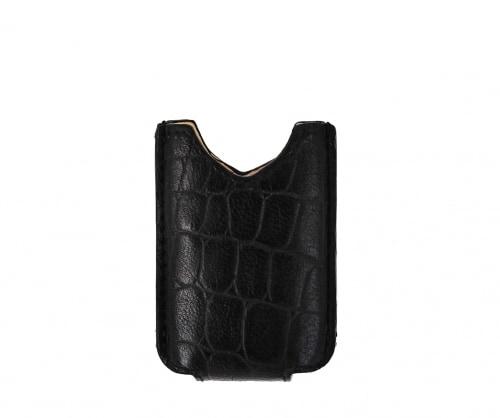 Etui briquet Récife en cuir façon croco pour MiniJet Noir
