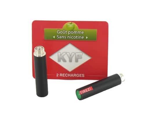 2 Recharges noires Go�t Pomme sans nicotine Cigarette KYF