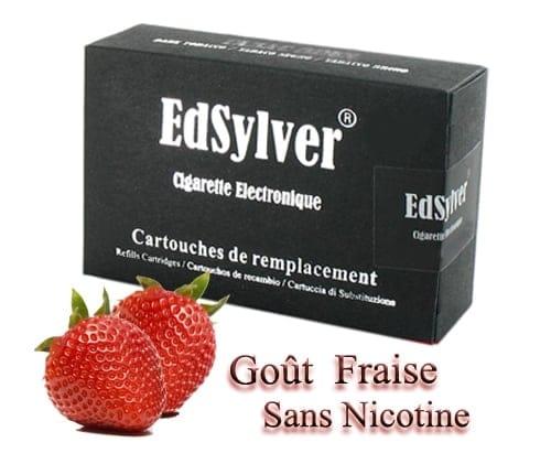 5 Recharges Goût Fraise sans nicotine Cigarette Edsylver