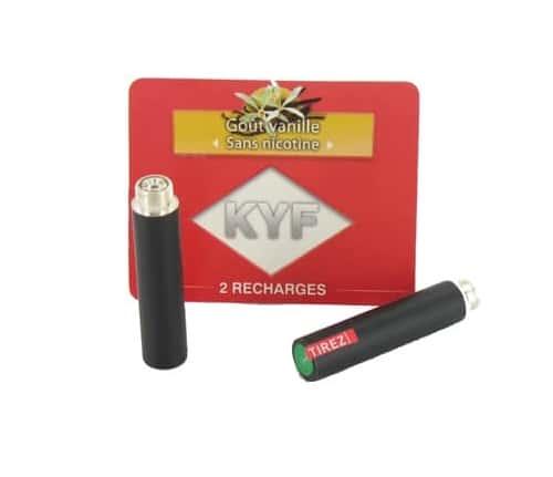 2 Recharges noires Go�t Vanille sans nicotine Cigarette KYF