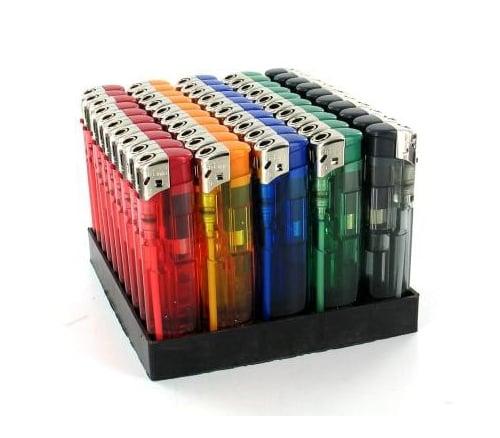 50 briquets Unilite electroniques couleur