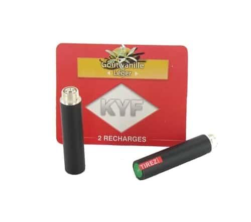 2 Recharges noires Goût Vanille nicotine léger Cigarette KYF